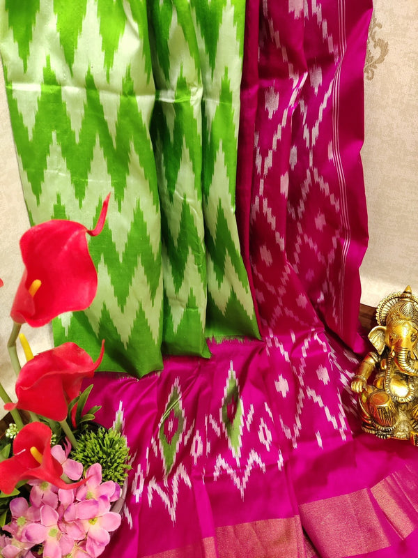 Pochampally silk saree light green and pink with ikat weaves and zari woven ikat border