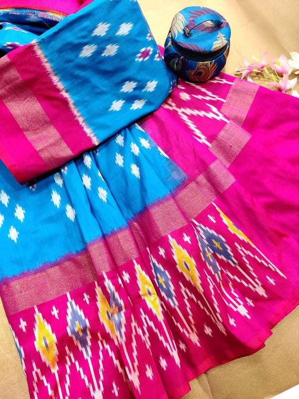Pochampally silk saree cs blue and pink with ikat weaves and zari woven ikat border
