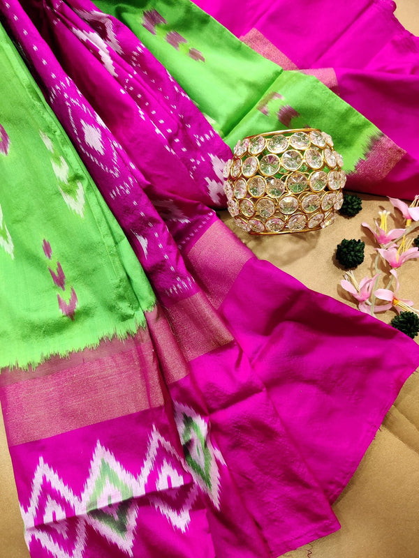 Pochampally silk saree green and pink with ikat weaves and zari woven ikat border