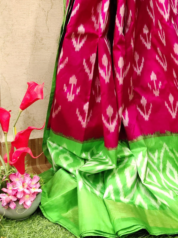 Pochampally silk saree pink and green with ikat weaves and zari woven ikat border