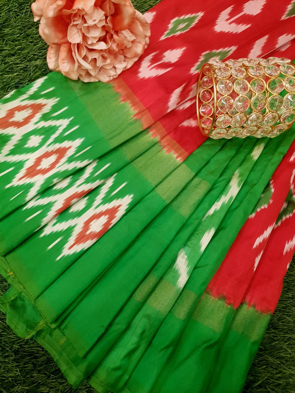 Pochampally silk saree red and green with ikat weaves and zari woven ikat border