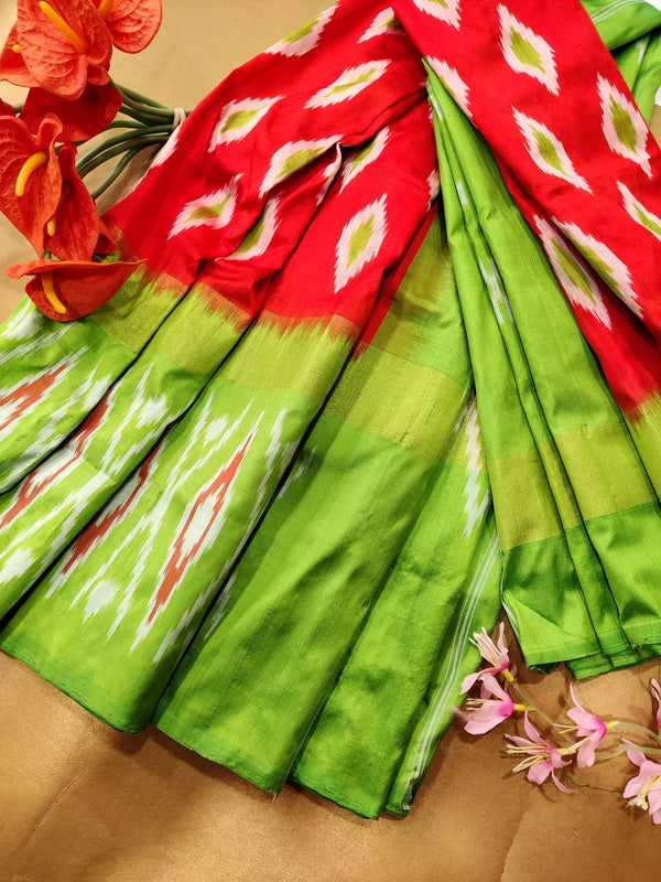 Pochampally silk saree orange and green with ikat weaves and zari woven ikat border