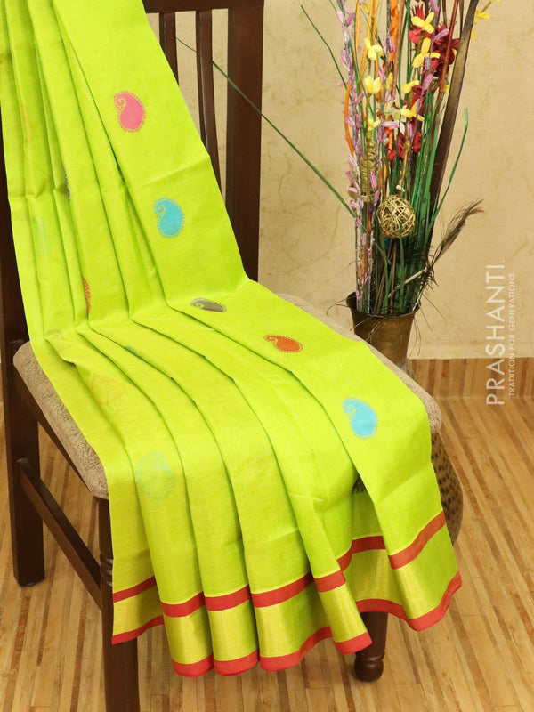 Silk cotton saree lime green and red with thread woven buttas and zari woven border