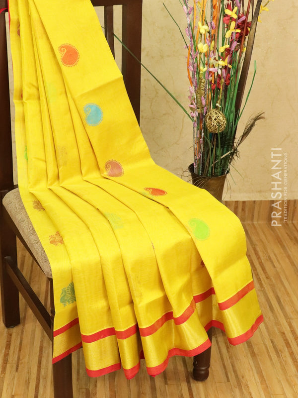 Silk cotton saree yellow and red with thread woven buttas and zari woven border
