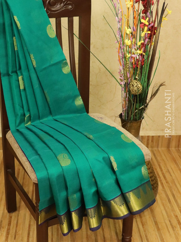 Silk cotton saree green and violet with zari woven buttas and zari woven border
