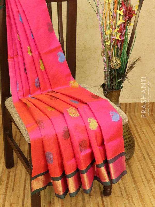 Silk cotton saree pink and green with thread woven buttas and zari woven border