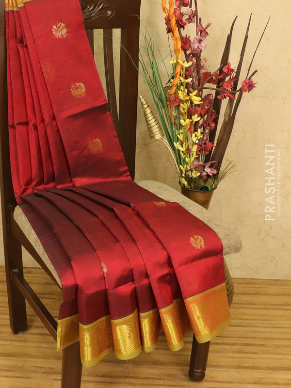 Silk cotton saree maroon and green with zari woven buttas and zari woven border