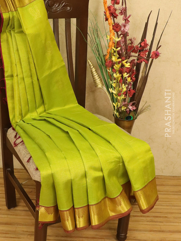 Silk cotton saree lime green and maroon with zari woven buttas and zari woven temple border