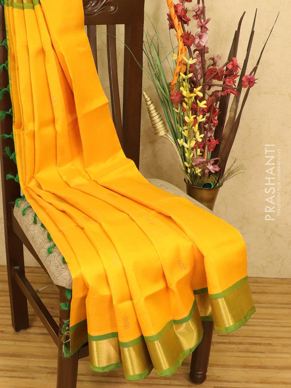 Silk cotton saree mango yellow and green with zari woven buttas and zari woven border