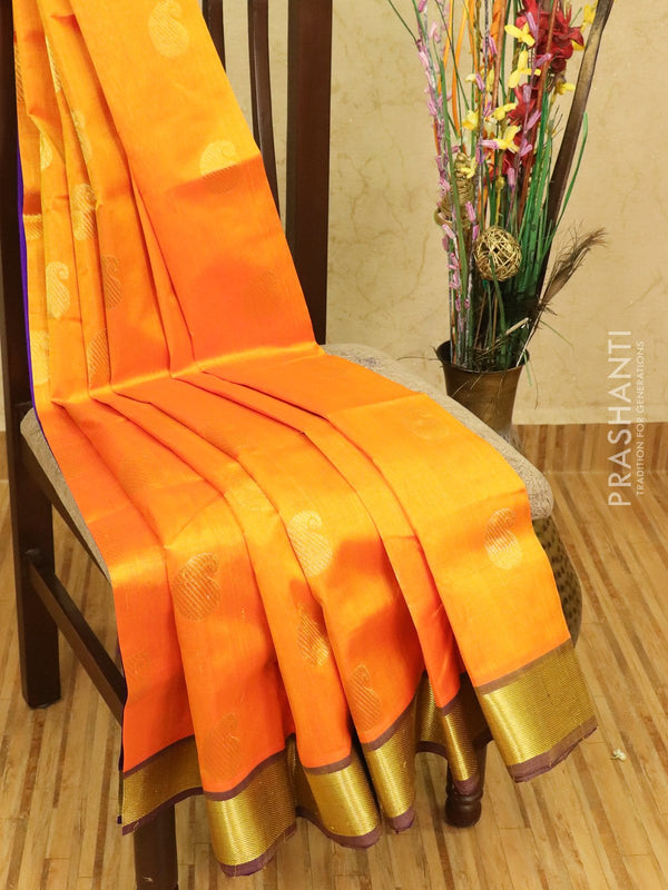 Silk cotton saree orange and violet with zari woven buttas and zari woven border