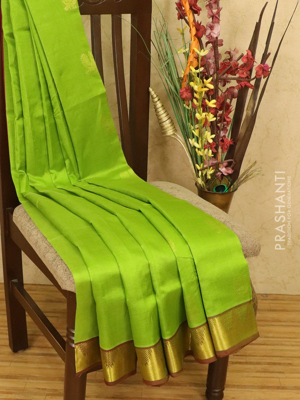 Silk cotton saree green and maroon with zari woven buttas and zari woven border