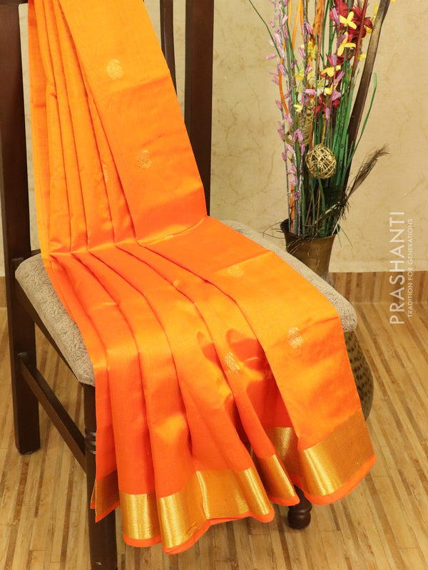 Silk cotton saree orange with zari woven buttas and zari woven border