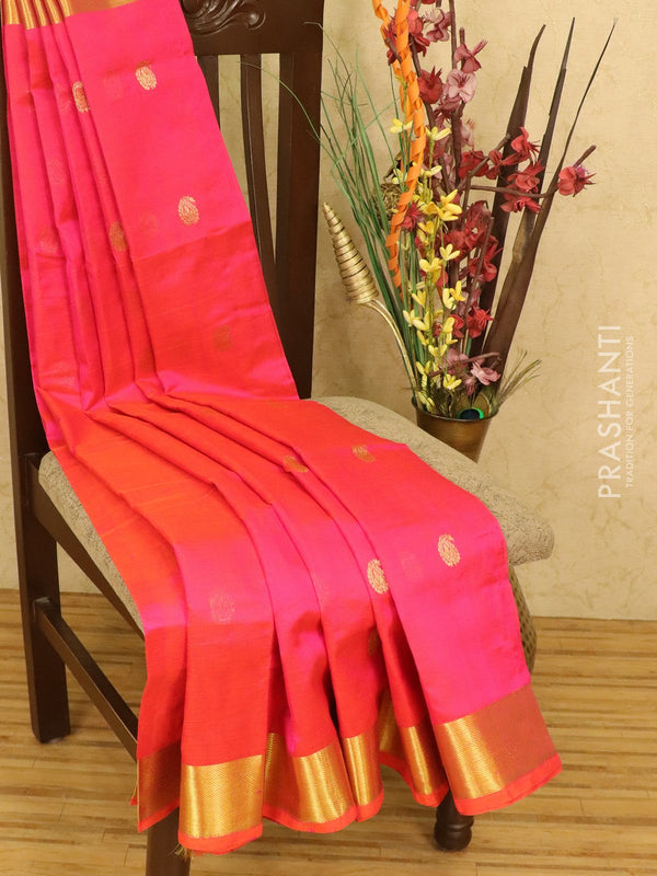Silk cotton saree dual shade of pink with zari woven buttas and zari woven border