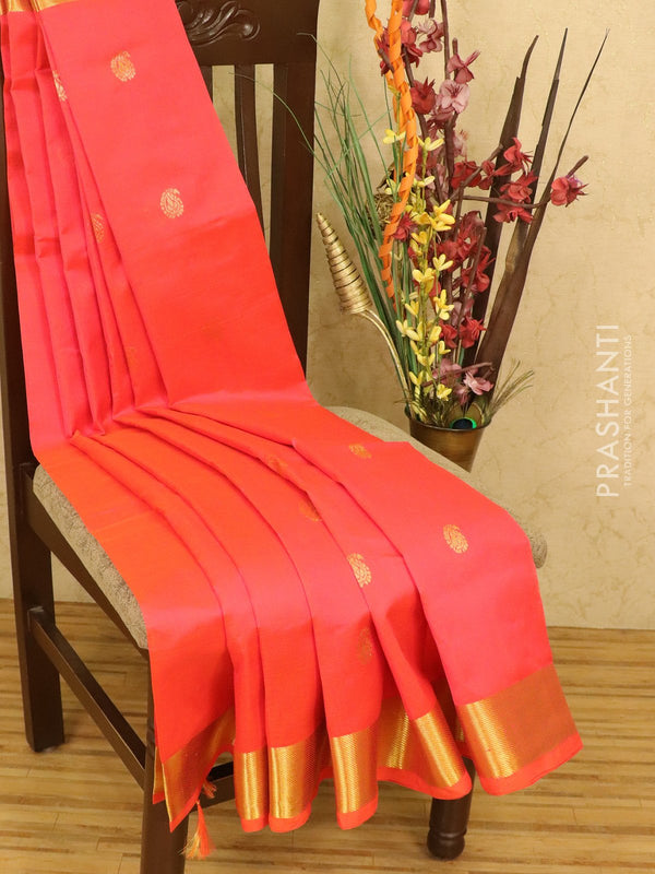 Silk cotton saree dual shade of orange and pink with zari woven buttas and zari woven border