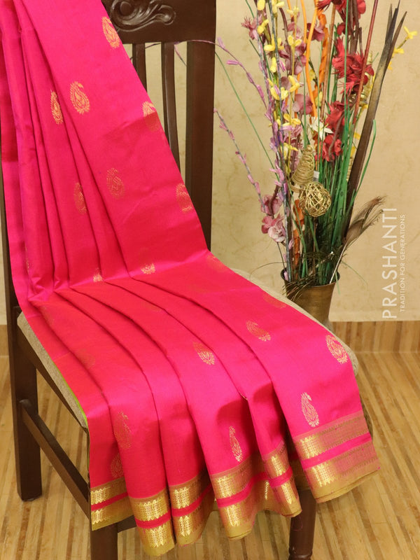 Silk cotton saree pink and green with zari woven buttas and zari woven rettapet border