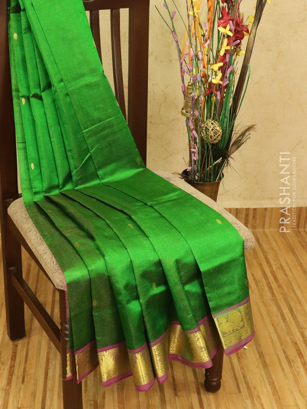 Silk cotton saree green and magenta pink with zari woven buttas and border vairavosi