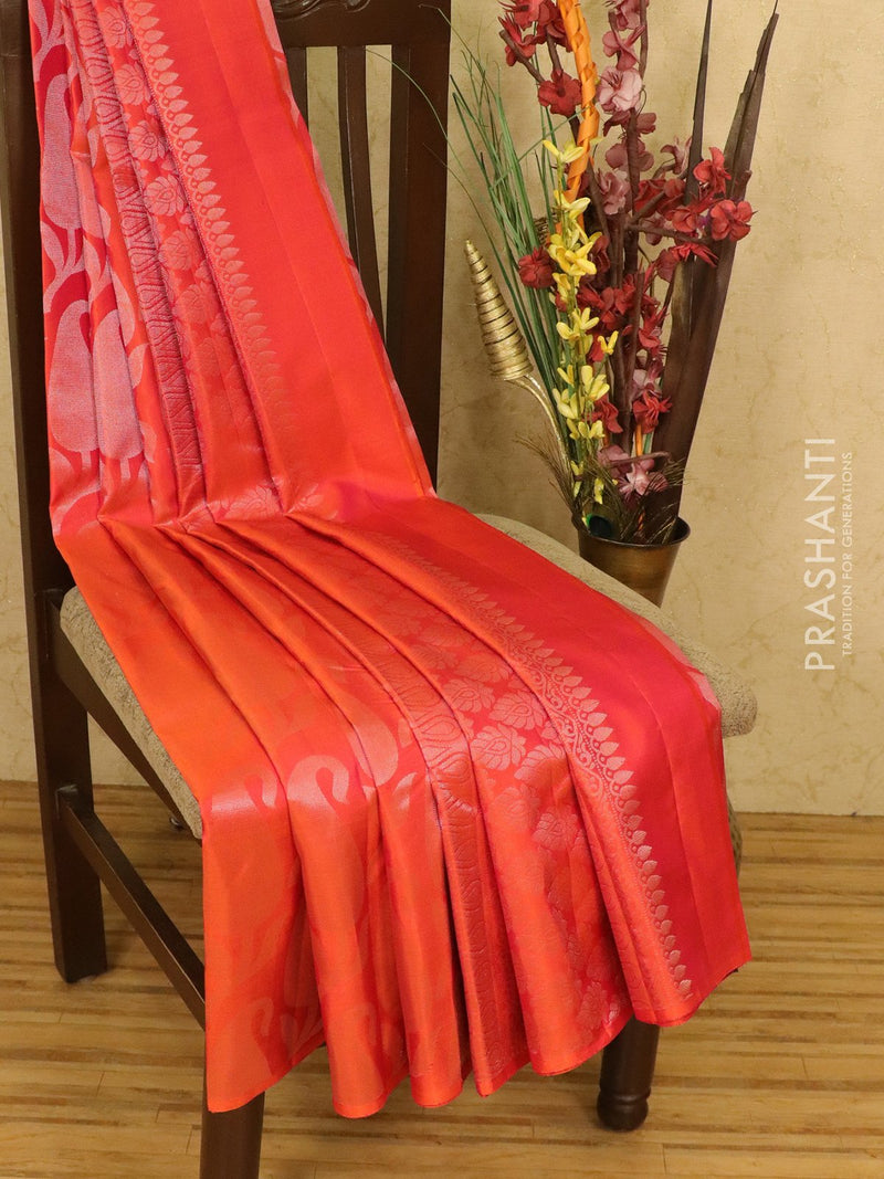Pure soft silk saree dual shade of orange with allover silver zari weaves in borderless style