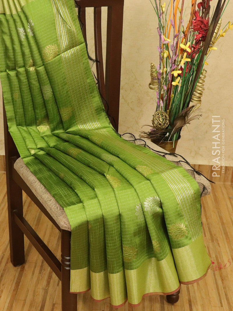 Semi dupion saree green with zari woven buttas and zari woven border