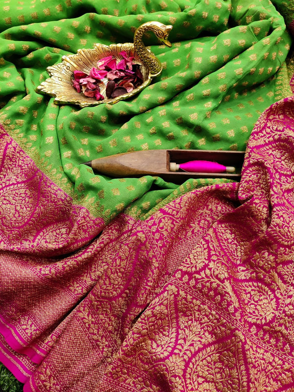 Pure banarasi Georgette Saree parrot green and pink with allover small zari buttas and long zari border