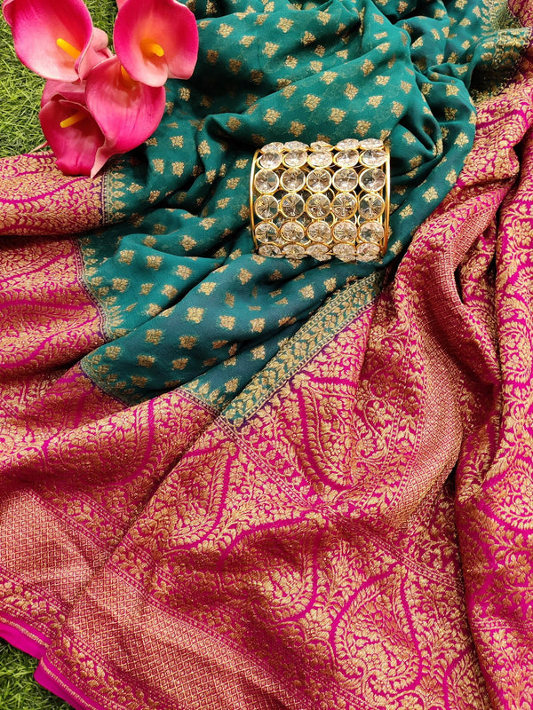 Pure banarasi Georgette Saree peacock green and pink with allover small zari buttas and rich zari border