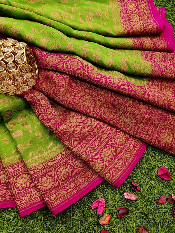 Pure banarasi Georgette Saree green and pink with allover zari weaves and rich zari border