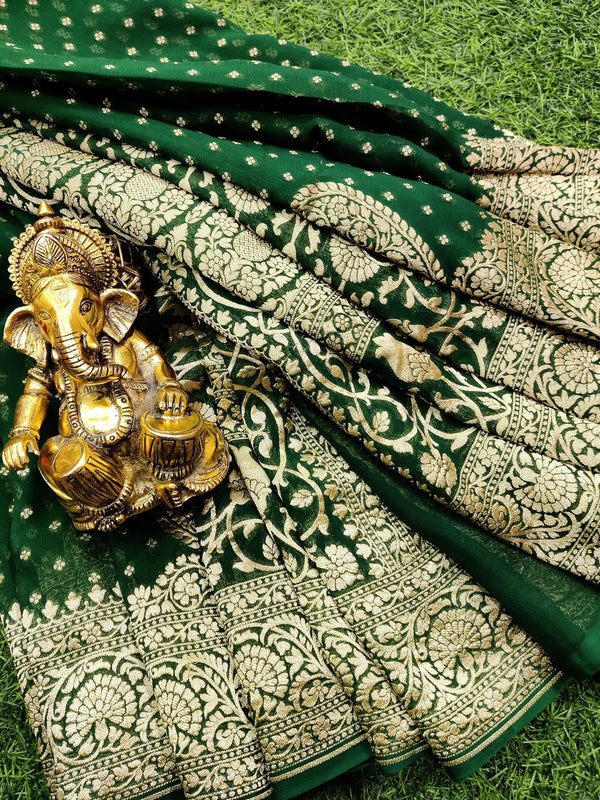 Pure banarasi Georgette Saree green with allover small zari buttas and rich zari border