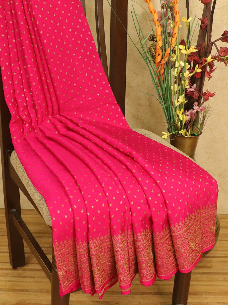 Pure banarasi crepe Saree pink with allover small zari buttas and rich zari border