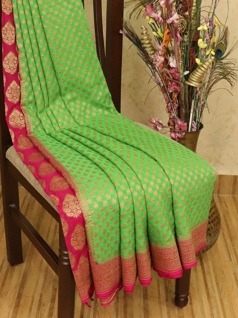 Pure banarasi Georgette partly Saree green and pink with allover zari woven buttas and zari woven border