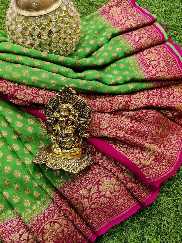 Pure banarasi Georgette Saree green and pink with allover zari woven buttas and zari woven border