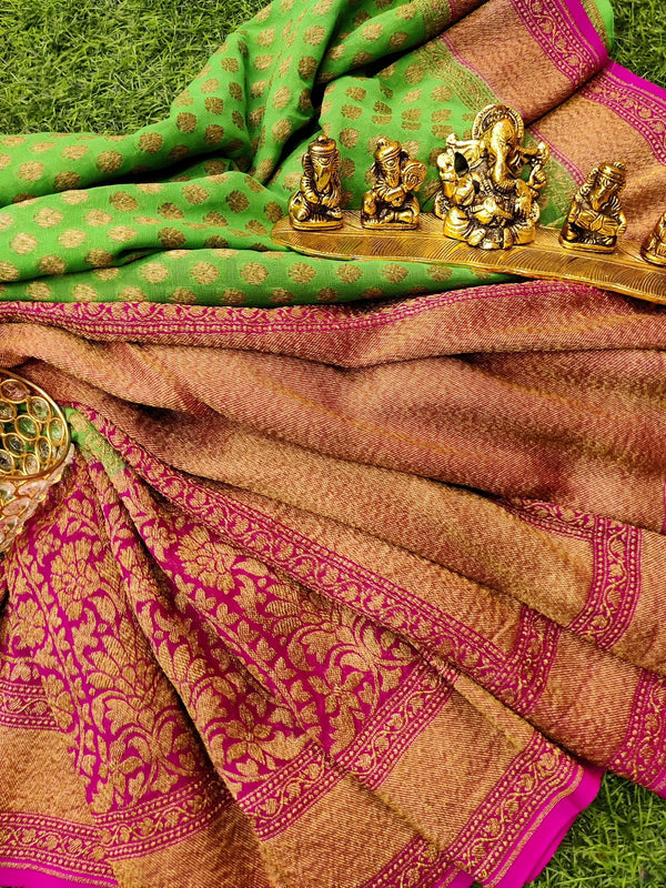 Pure banarasi Georgette Saree green and pink with allover zari woven buttas and rich zari woven border