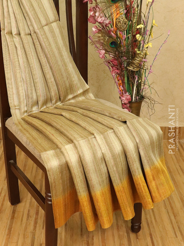 Semi jute silk saree beige and mustard with simple border
