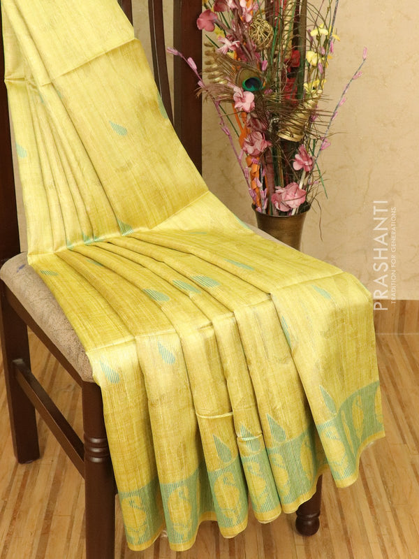 Semi jute silk saree greenish yellow and blue with thread weaves and border