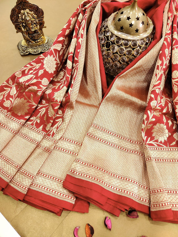 Pure Banarasi silk Georgette Saree red allover floral zari weaves with rich zari woven border