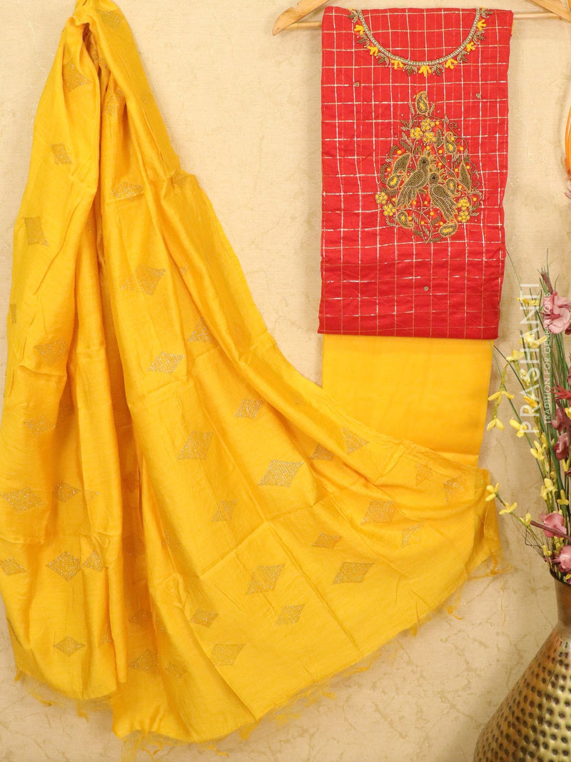 Chanderi dress material red and yellow with rich embroided neck pattern and dupatta
