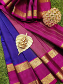 Pure kanchivaram silk saree blue and magenta pink with plain body and zari woven rettapet border