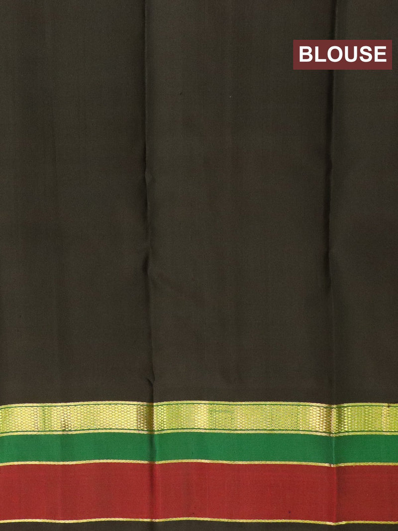 Pure kanchivaram silk saree green and black with plain body and simple zari border