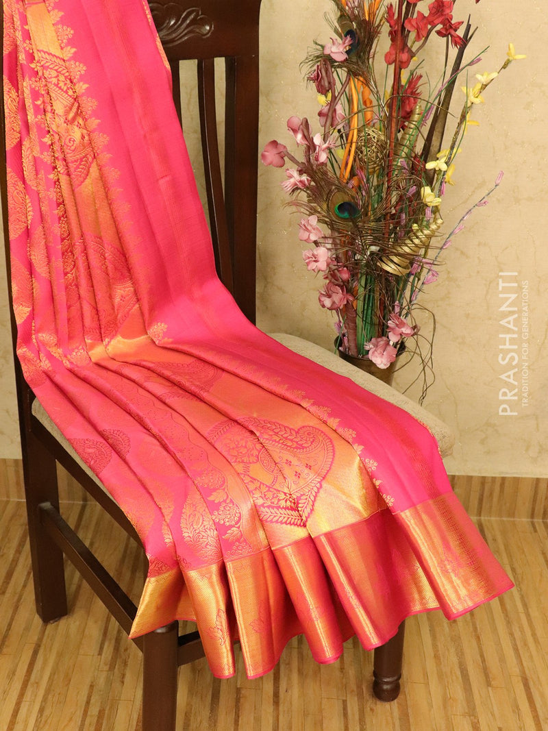 Pure kanchivaram silk saree pink with allover thread and zari weaves with zari border