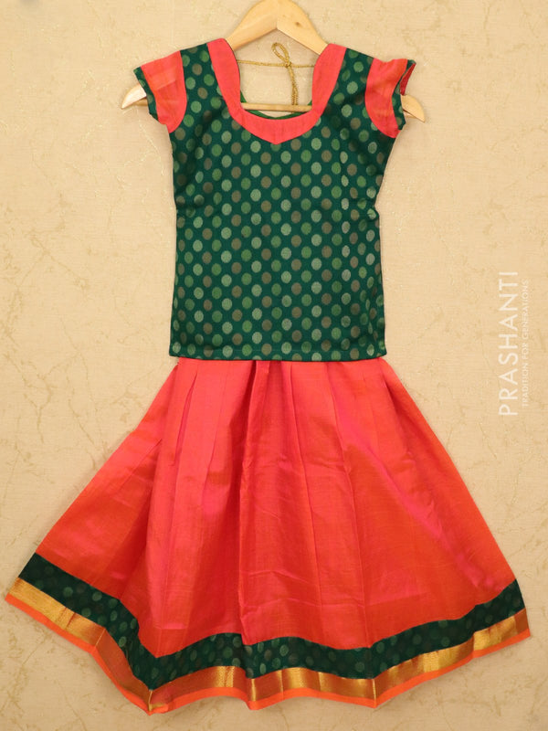Silk cotton pavadai sattai dual shade of orange pink and green with woven blouse and zari border for 8 years