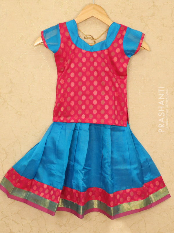 Silk cotton pavadai sattai cs blue and pink with woven blouse and zari border for 4 years