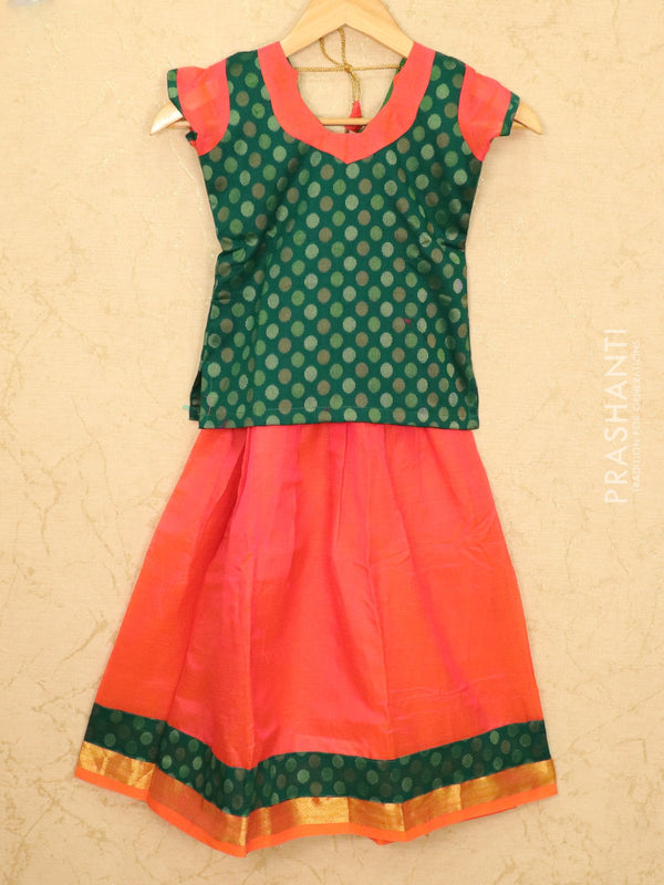 Silk cotton pavadai sattai dual shade of orange pink and green with woven blouse and zari border for 7 years