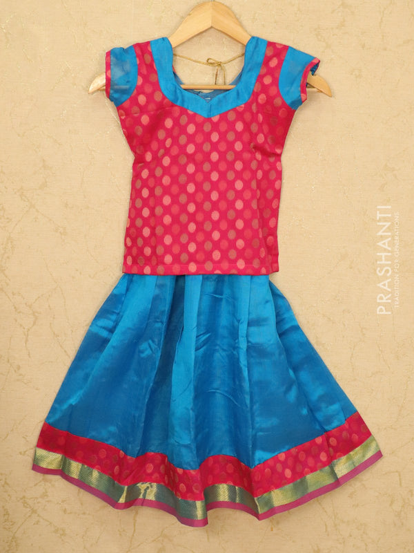Silk cotton pavadai sattai cs blue and pink with woven blouse and zari border for 6 years