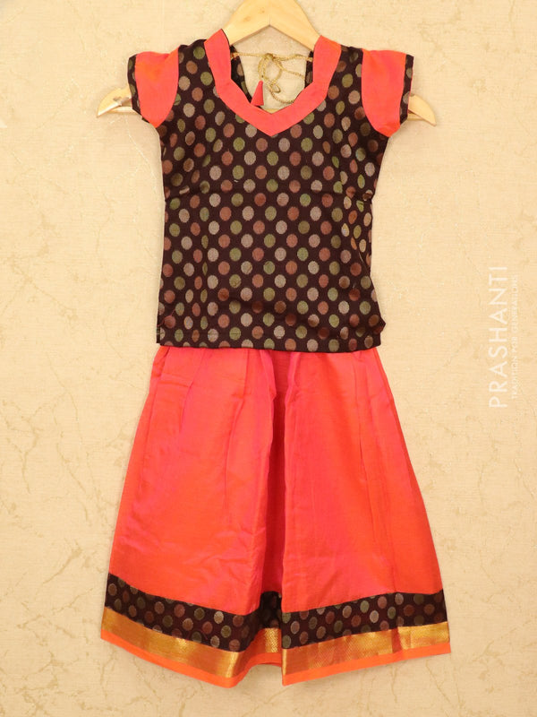 Silk cotton pavadai sattai dual shade of orange pink and coffee brown with woven blouse and zari border for 5 years