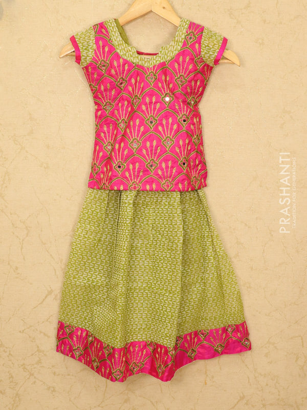 Silk cotton pavadai sattai green and pink with mirror embroided blouse and border for 6 years