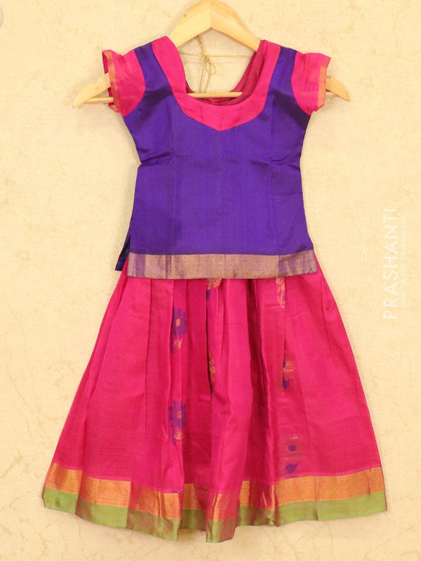 Silk cotton pavadai sattai pink and blue plain blouse with thread and zari woven butta&border for 3 years