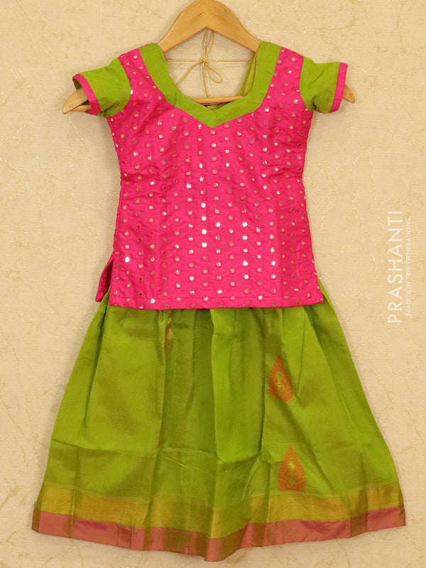 Silk cotton pavadai sattai light green and pink with mirror embroided blouse and zari border for 4 years