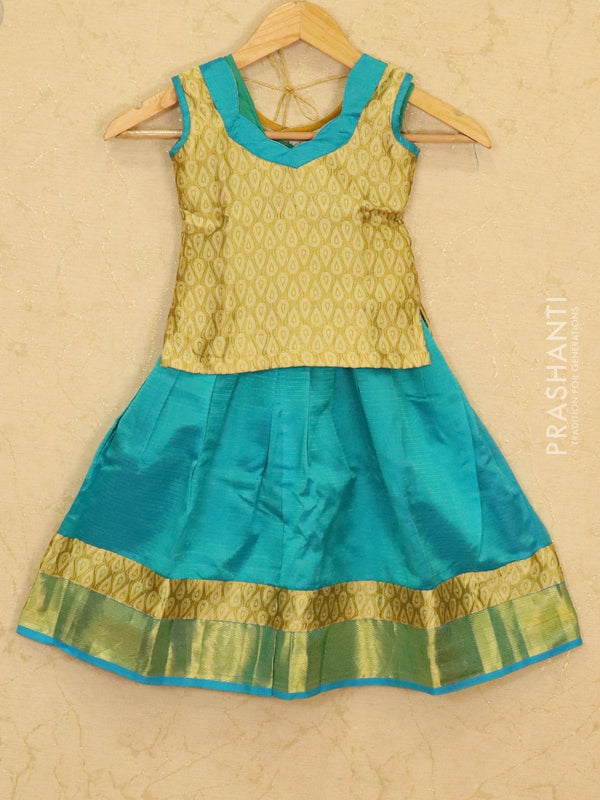 Silk cotton pavadai sattai light blue and golden with zari woven blouse and border for 3 years