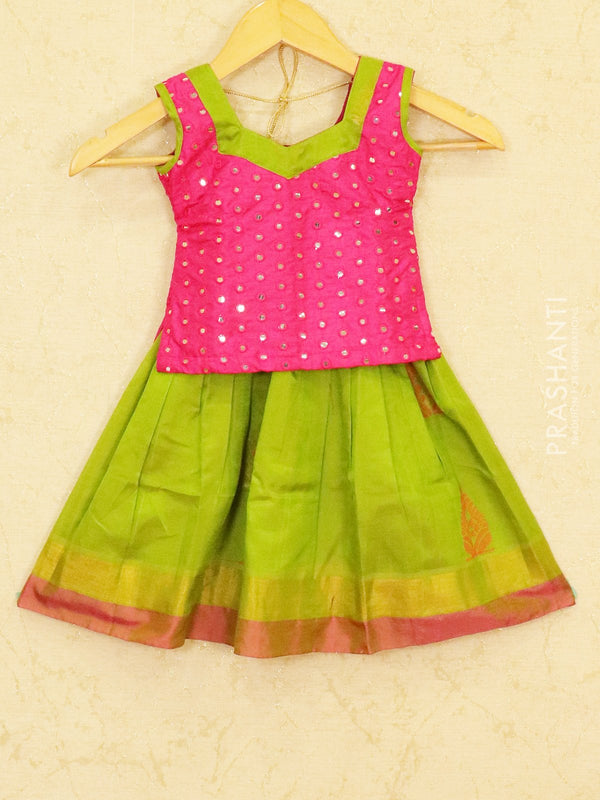 Silk cotton pavadai sattai light green and pink with mirror embroided blouse and zari border for 1 year