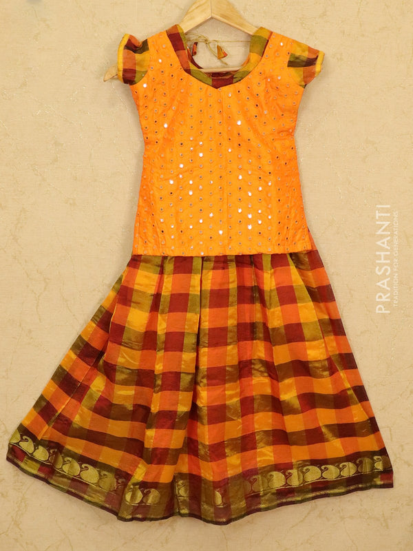 Silk cotton pavadai sattai mango orange and rustic brown checked pattern with mirror embroided blouse for 8 years