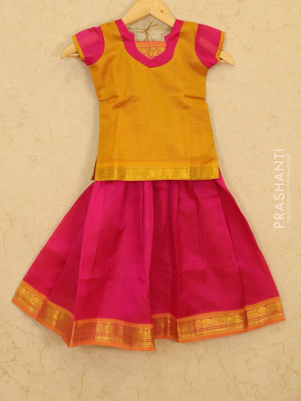 Silk cotton pavadai sattai pink and mustard yellow with plain blouse and zari woven border for 5 years