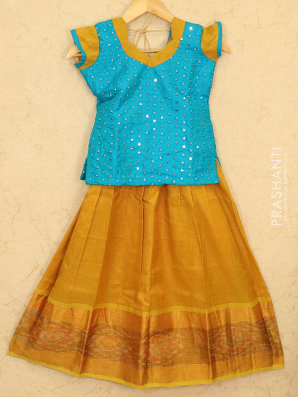 Silk cotton pavadai sattai mustard and cs blue with mirror embroided blouse and ikat border for 8 years